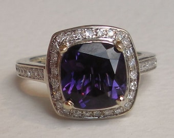 Diamond Amethyst Engagement Ring 14k White Gold Halo Set