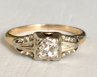 Vintage Solitaire Diamond Engagement Ring- 14k White and Yellow Gold Ring