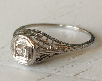 Stunning Detail Old Mine Cut Diamond Filigree Engagement Ring - 18k White Gold