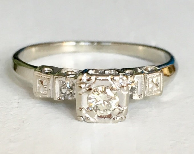 Featured listing image: Fine Detail Diamond Engagement Ring - Three Stone Ring - 14k White Gold Ring