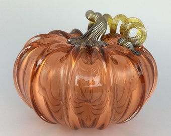 "5"" Glass Pumpkin by Jonathan Winfisky - Transparent Aurora - Hand Blown Glass"