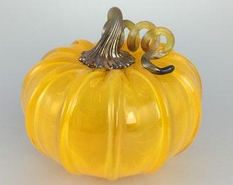"""5"""" Glass Pumpkin by Jonathan Winfisky - Transparent Citrus Orange - Hand Blown Glass"""