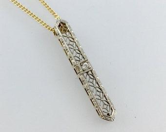 Delicate Diamond Filigree Pendant Necklace - 14k Yellow and White Gold