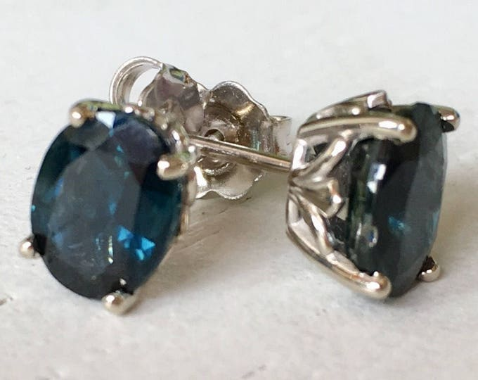 Featured listing image: Large Blue Green Sapphire Earrings 18k White Gold