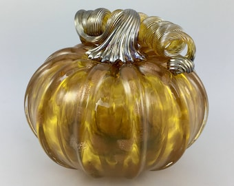 "4.5"" Glass Pumpkin by Jonathan Winfisky - Rose Gold Glimmer Series - Gold Topaz - Hand Blown Glass"