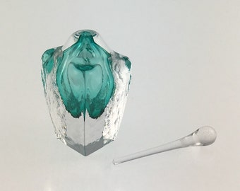 Hand Blown Glass Perfume Bottle - Emerald Green Cubic  by Jonathan Winfisky