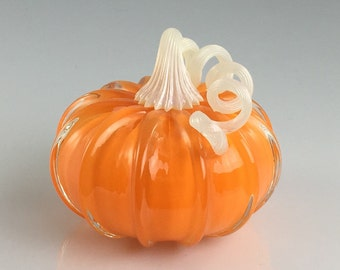 "4"" Glass Pumpkin by Jonathan Winfisky -Retro Opaque Bright Pumpkin Orange - Hand Blown Glass"