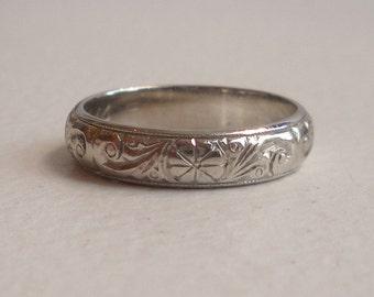 Platinum 4mm Carved Vintage Wedding or Engagement Eternity Band - Charles Green & Son