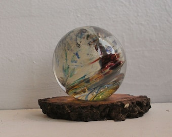 Large Glass Marble and Wood Stand  - Landscape Series by Jonathan Winfisky
