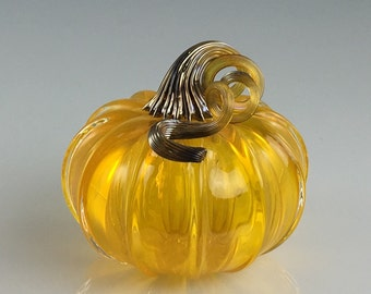 "3.5"" Glass Pumpkin by Jonathan Winfisky - Transparent Citrus Orange - Hand Blown Glass"