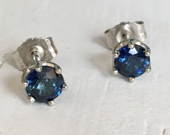 Featured listing image: Blue Sapphire Platinum Earrings Six Prong Mounting
