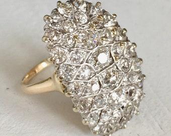 Old Mine Cut Diamond Engagement Ring Filigree Dinner Ring
