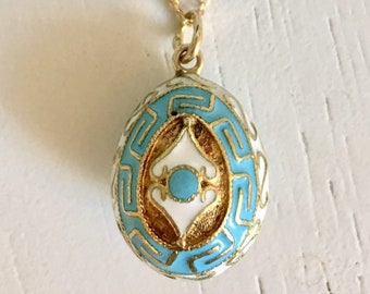 Blue and White Enamel Egg Pendant Necklace - 14k Yellow Gold