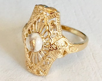 Yellow Gold Moonstone Filigree Engagement Ring 14k