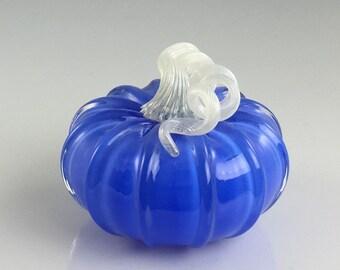 """4"""" Glass Pumpkin by Jonathan Winfisky -Retro Opaque Electric Blue - Hand Blown Glass"""