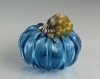 """3.5"""" Glass Pumpkin by Jonathan Winfisky -Transparent Azure Blue - Hand Blown Glass"""