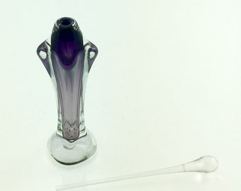 Hand Blown Glass Perfume Bottle - Dark Violet Footed  by Jonathan Winfisky