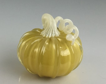 """4"""" Glass Pumpkin by Jonathan Winfisky -Retro Opaque Khaki - Hand Blown Glass"""