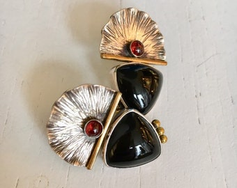 Retro Sterling Silver Black Onyx and Carnelian Statement Earrings