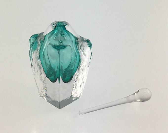 Hand Blown Glass Perfume Bottle - Emerald Green Cubic  by Jonathan Winfisky