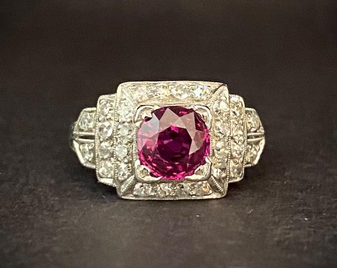 Antique Platinum Diamond Rare Natural Untreated Ruby Engagement Ring