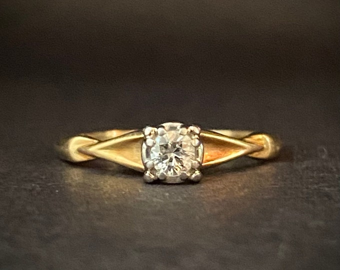 Fiery Vintage European Cut Diamond Engagement Ring - Diamond Solitaire Ring - Platinum and 14kYellow Gold Ring