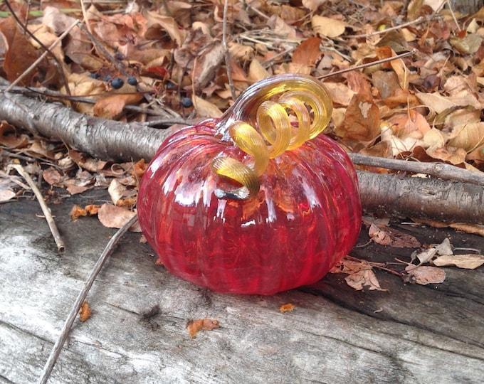 """3.5"""" Glass Pumpkin by Jonathan Winfisky - Transparent Bright Garnet Red - Hand Blown Glass"""