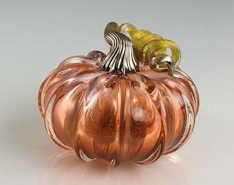 """3.5"""" Glass Pumpkin by Jonathan Winfisky - Transparent Aurora - Hand Blown Glass"""