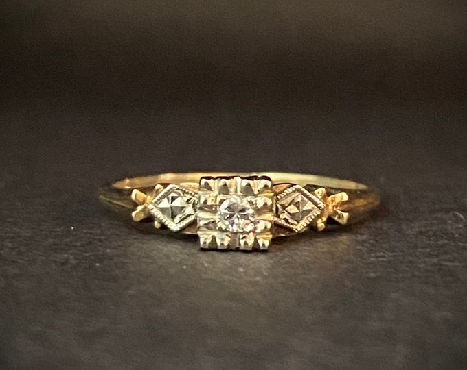 Fine Detail Vintage Solitaire Diamond Engagement Ring- 14k White and Yellow Gold Ring