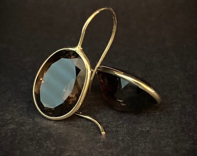 14k Yellow Gold Faceted 10ct-tw Topaz Earrings