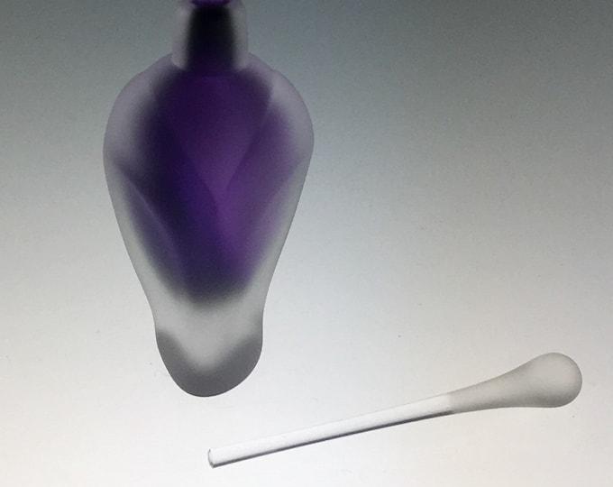 Hand Blown Glass Perfume Bottle - Sandblasted Purple Amethyst Overlay  by Jonathan Winfisky
