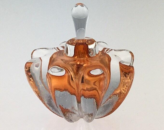 Hand Blown Glass Perfume Bottle - Aurora Orange Optic  by Jonathan Winfisky