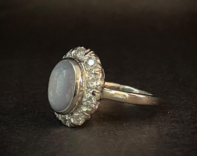 Beautiful Lavender Star Sapphire Diamond Engagement Ring - Halo Ring