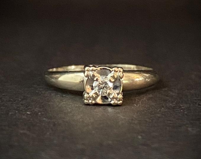 Sweet Detail Diamond Solitaire Engagement Ring - 14k White Gold Ring