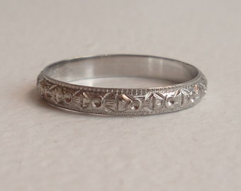 Intricate Carved Vintage 18k White Gold Wedding Band - Size 4.75