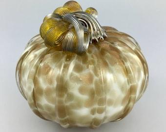 """4.5"""" Glass Pumpkin by Jonathan Winfisky -Rose Gold Glimmer Series - Winter White - Hand Blown Glass"""