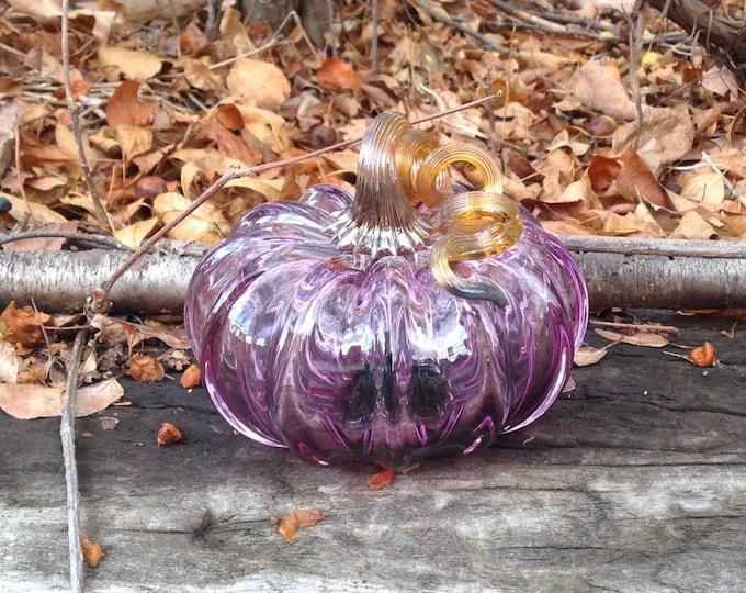 """3.5"""" Glass Pumpkin by Jonathan Winfisky - Transparent Violet - Hand Blown Glass"""