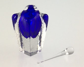Hand Blown Glass Perfume Bottle - Cobalt Blue Cubic  by Jonathan Winfisky