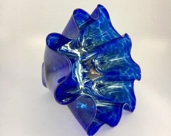 Hand Blown Glass Bowl - Cobalt Blue Luster Shell Bowl Form by Jonathan Winfisky