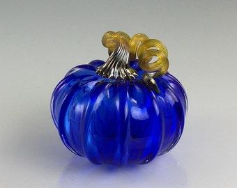 """5"""" Glass Pumpkin by Jonathan Winfisky - Limited Edition Transparent Cobalt Blue - Hand Blown Glass"""