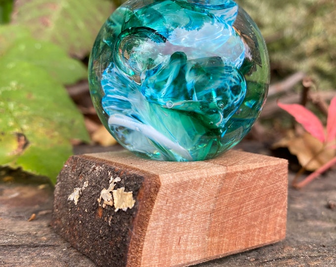 Glass Marble and Wood Stand by Jonathan Winfisky - Paperweight