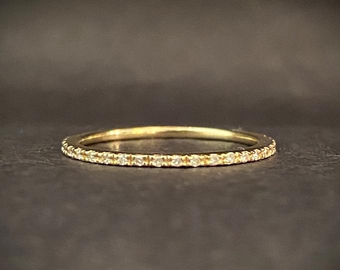 Diamond Eternity Band - Petite Wedding Band - 14k Yellow Gold