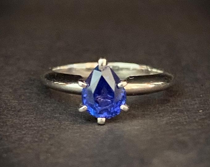 Classic Blue Sapphire Engagement Ring Solid Platinum Tear Drop Shape
