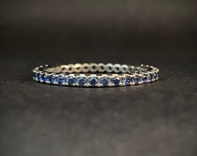 Blue Sapphire Eternity Band 18k White Gold Size 6
