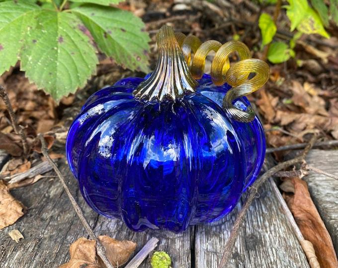 """3.5"""" Glass Pumpkin by Jonathan Winfisky - Transparent Cobalt Blue - Hand Blown Glass"""