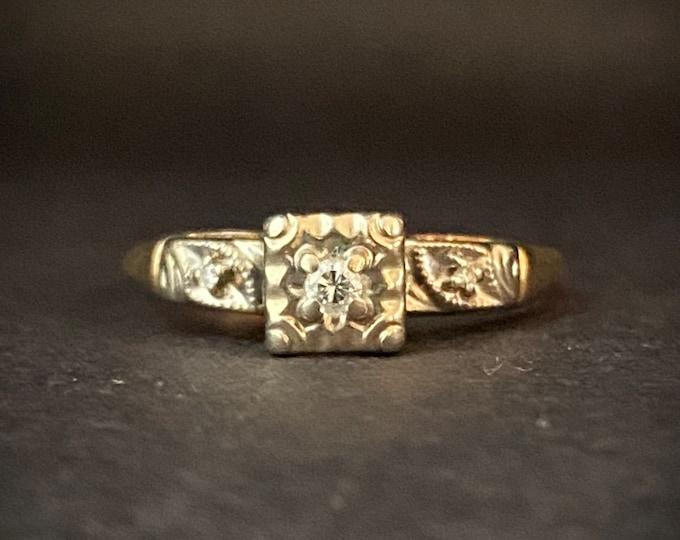 Classic Diamond Engagement Ring - Three Stone Ring - 14k White and Yellow Gold Ring