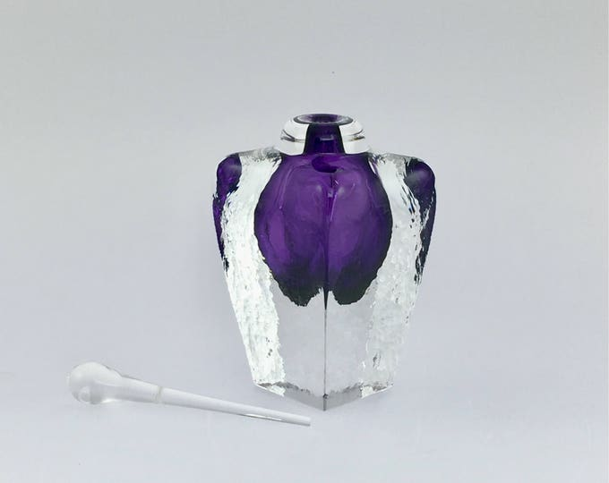 Hand Blown Glass Perfume Bottle - Amethyst Cubic  by Jonathan Winfisky