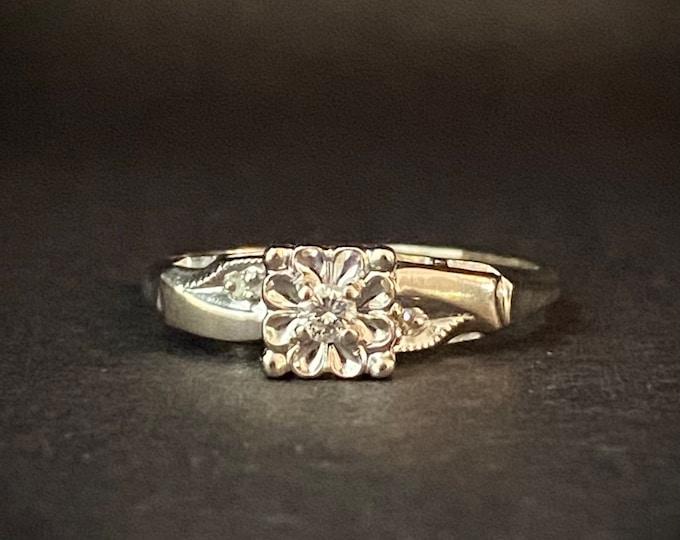 Milgrain Detail Diamond Engagement Ring - Three Stone Ring - 14k White Gold Ring