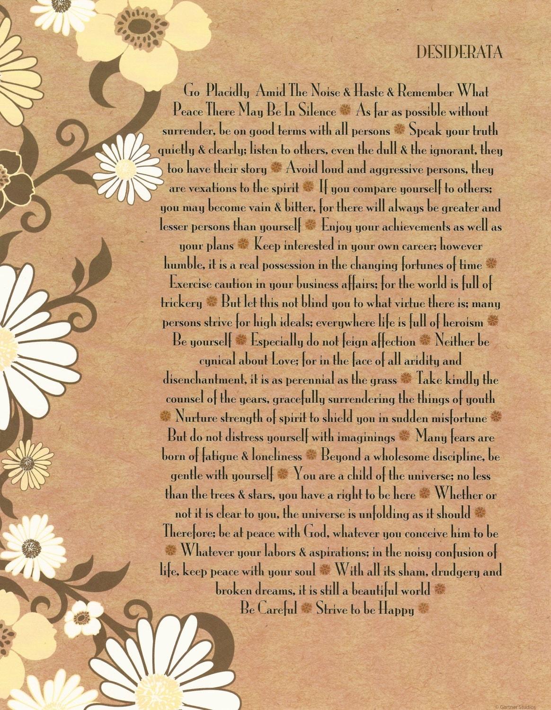 Desiderata Poem Fine Art Print Careful 70s Daisies 85 X Etsy