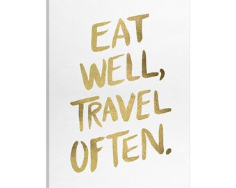 iCanvas Eat Well Type Gold Artprint Gallery Wrapped Canvas Art Print by Cat Coquillette